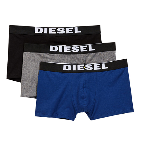 Set 3 Diesel Shorts Boxer Trunk - Black/ Blue/ Grey, Size S
