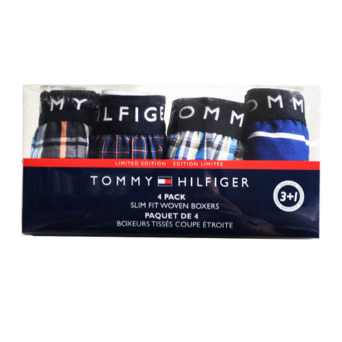 Set 4 Tommy Hilfiger Slim Fit Woven Boxers - Mẫu 3, Size XL