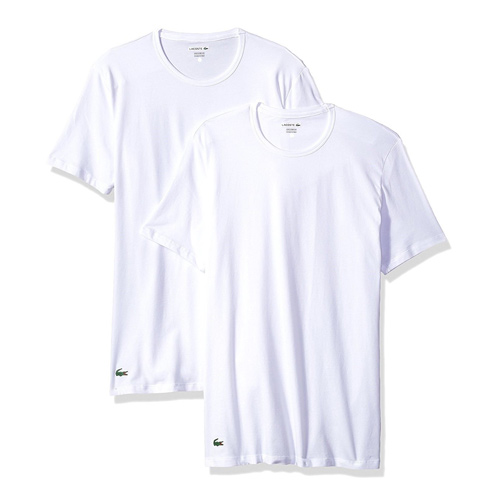 Set 2 áo Lacoste Cotton Stretch Slim Fit Crew Neck - White, Size S
