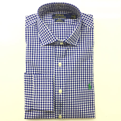 Polo Ralph Lauren Slim Fit Shirt - Navy/ White, Size 16 - 32/33