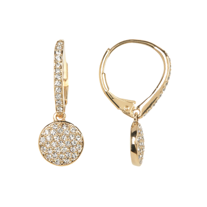 Hoa tai Nadri Crystal Pave Circle Drop Earrings, Gold
