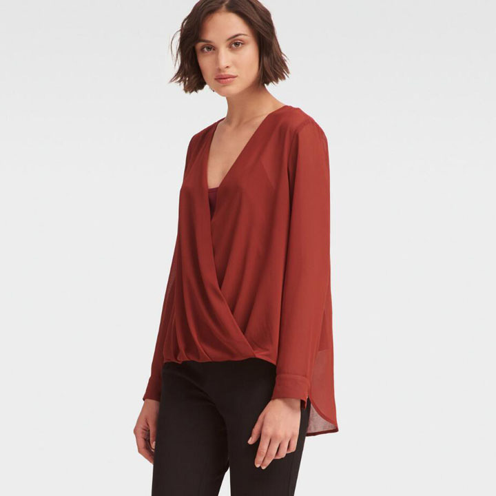 DKNY Wrap Front Blouse -  Brick Red, Size XS