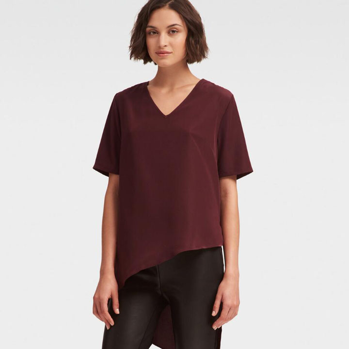 DKNY High Low Asymmetrical Top - Pinot Noir, Size XS