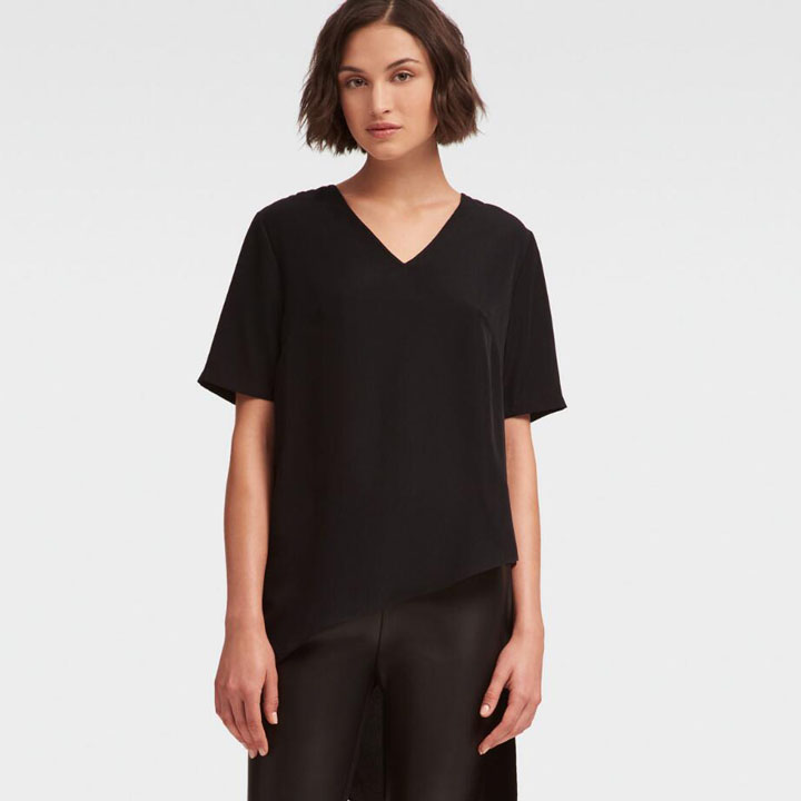 DKNY High Low Asymmetrical Top - Black, Size XXS