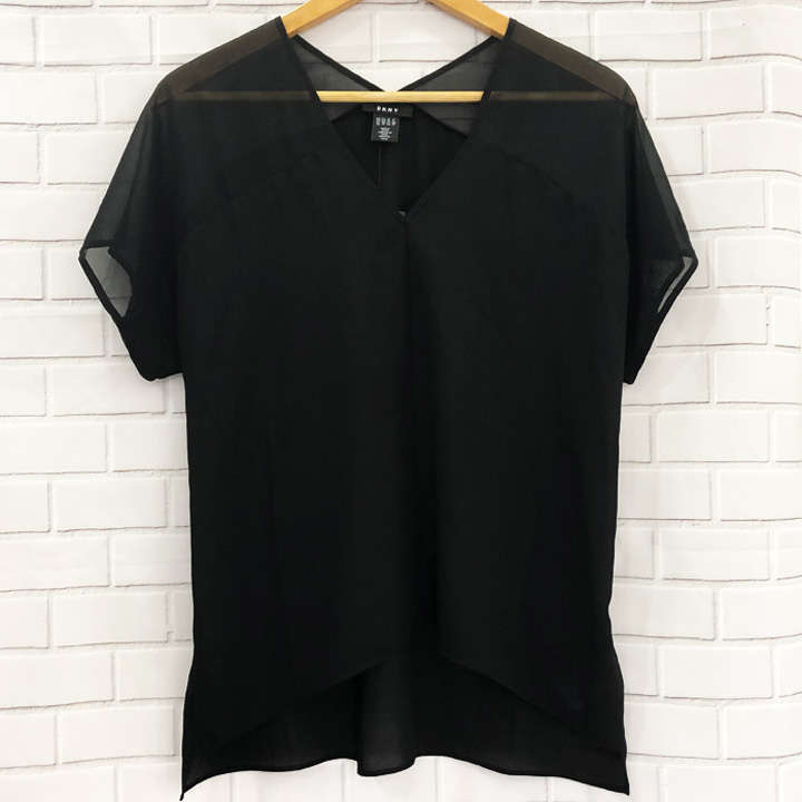 DKNY V-Neck Chiffon Yoke - Black, Size M