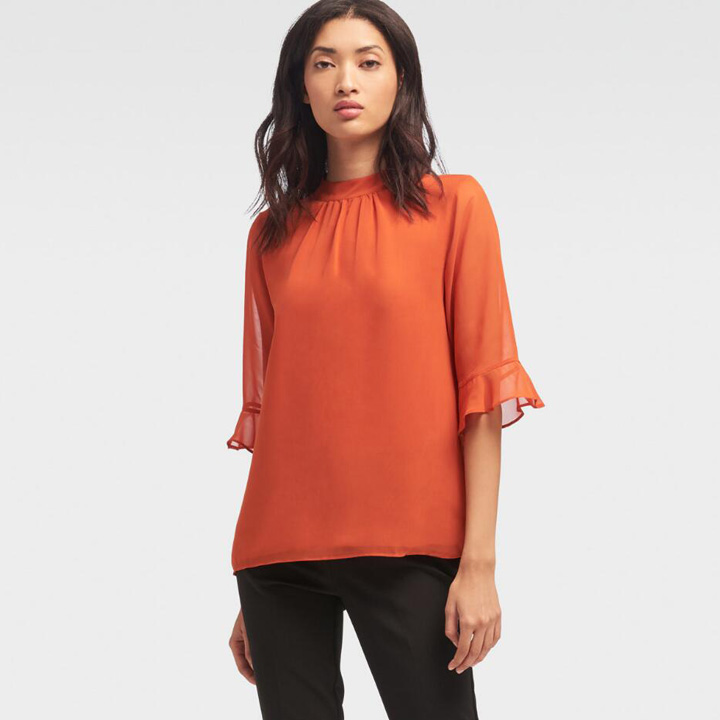 DKNY Ruffle-Sleeve Mock Neck Top - Paprika, Size XS