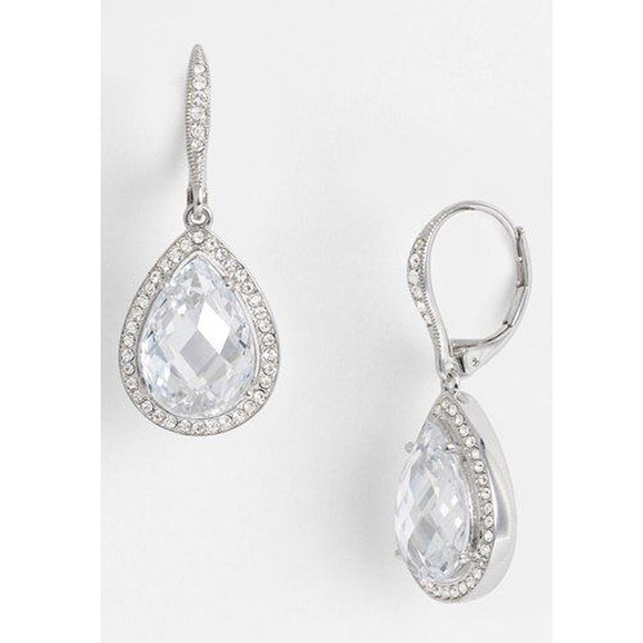 Nadri Pear Drop Dangle Earrings, Silver