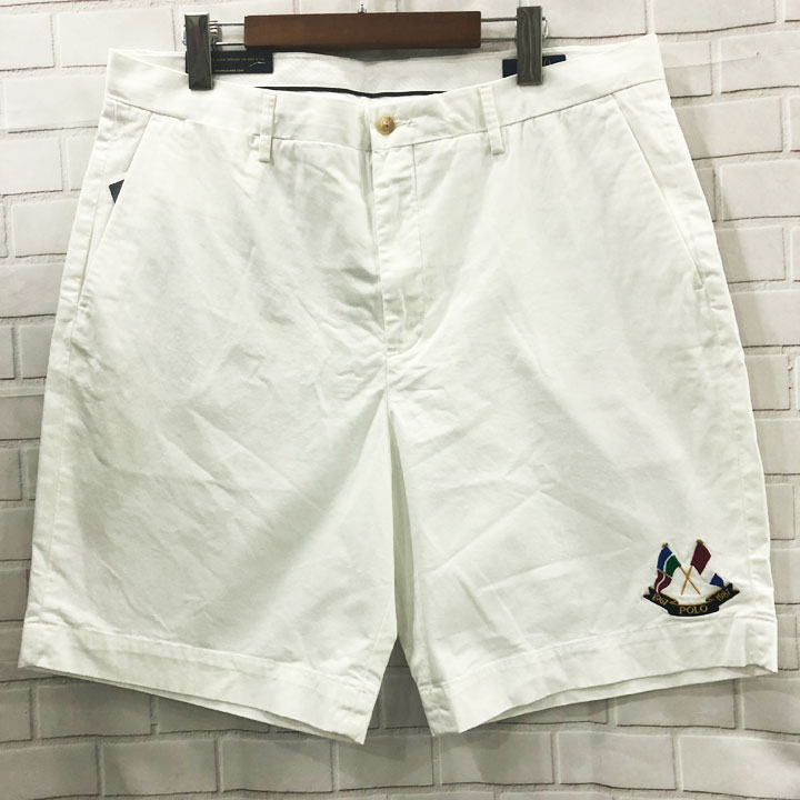 Polo Ralph Lauren Flag Stretch Classic Fit Chino Shorts - White, Size 33