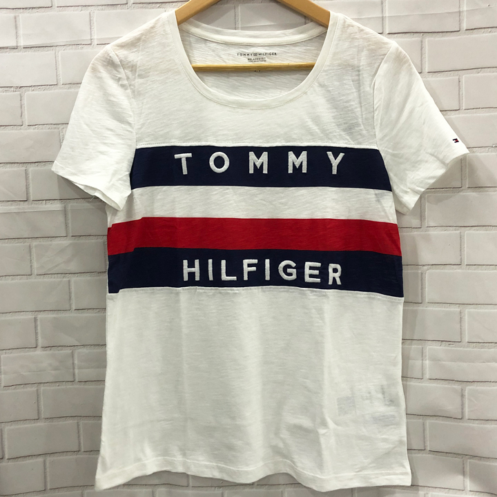 Tommy Hilfiger Relaxed Fit Logo Global Stripe T-Shirt - White, Size M