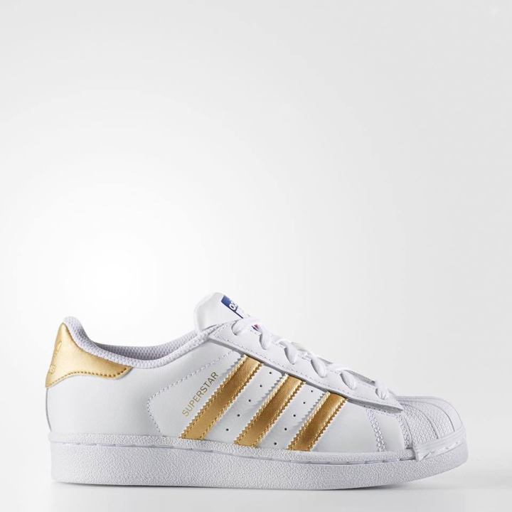 Adidas Youth Originals Superstar - Could White/ Gold Metallic, Size 37 1/3
