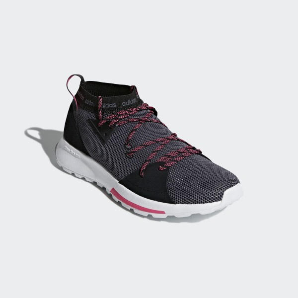 Adidas Running Quesa Shoes - Core Black/ Grey/Shock Pink, Size 36 2/3