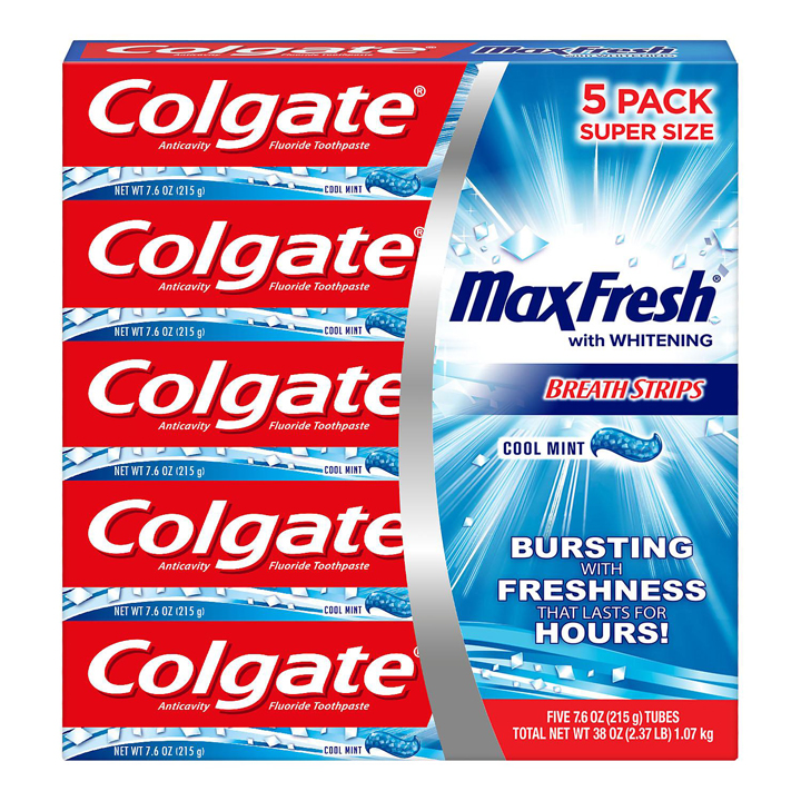 Set kem đánh răng Colgate Max Fresh With Whitening Breath Strips, 5 x 215g