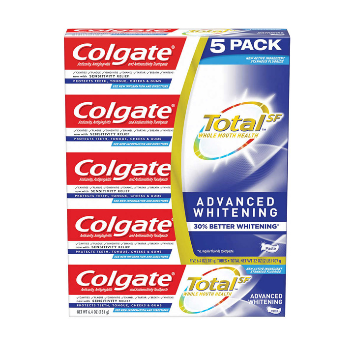 Kem đánh răng Colgate Total SF Advanced Whitening Toothpaste, 5 x 181g