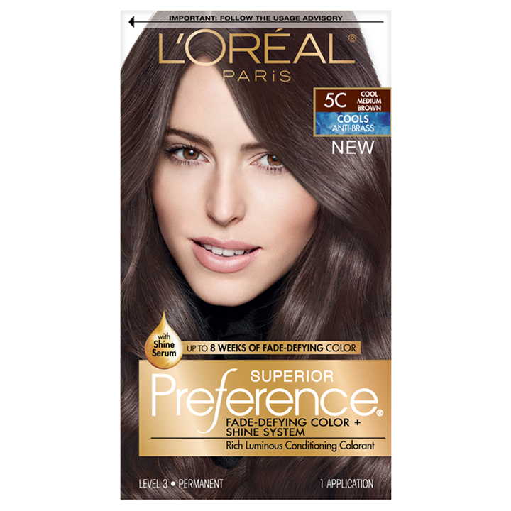 Thuốc nhuộm tóc L'Oréal Superior Preference, 5C Cool Medium Brown