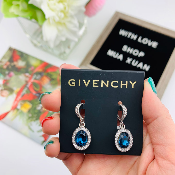 Hoa tai Givenchy Pavé & Stone Drop, Blue