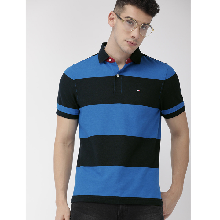 Tommy Hilfiger Wicking Cotton Striped Polo Shirt - Navy/Blue, Size S