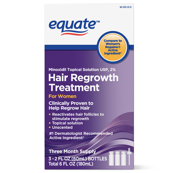 Thuốc mọc tóc Equate Women's Minoxidil Topical Solution for Hair Regrowth, 3 x 60ml