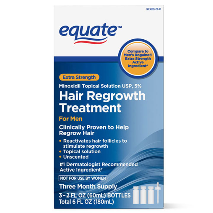 Thuốc mọc tóc Equate Men's Minoxidil Topical Solution for Hair Regrowth, 3 x 60ml