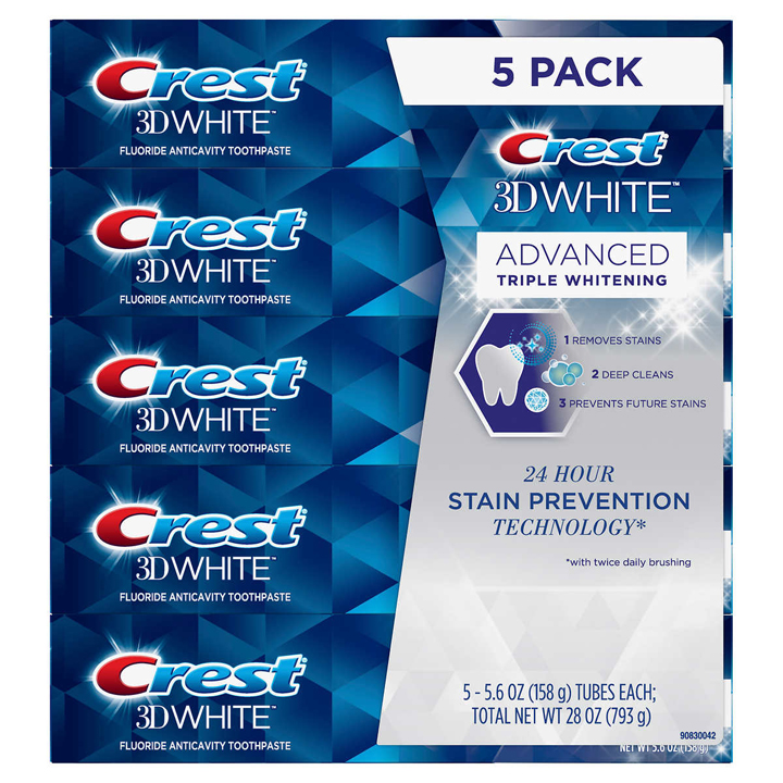 Set kem đánh răng Crest 3D White Advanced Triple Whitening, 5 x 158g
