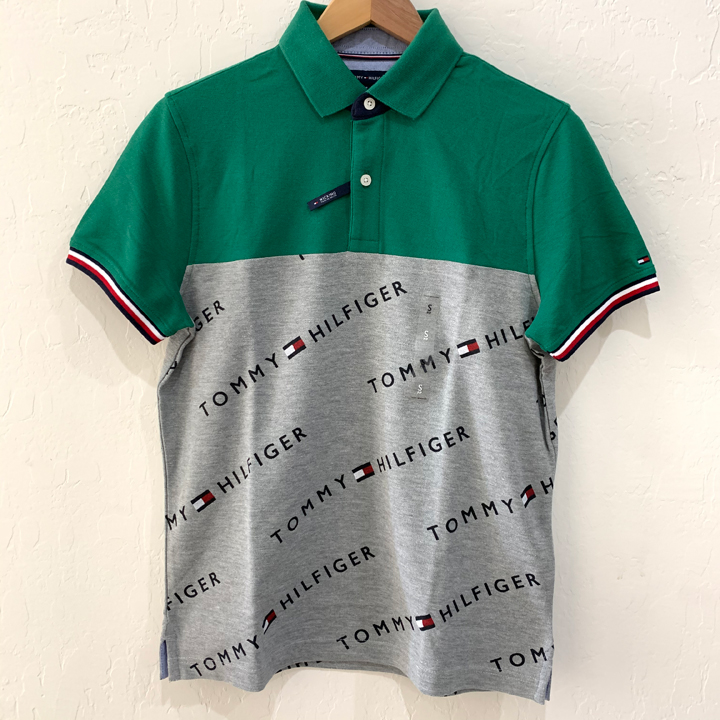 Tommy Hilfiger Wicking Cotton Polo Shirt - Green/Grey, Size S