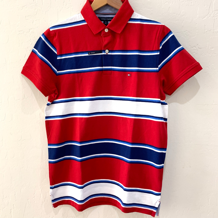 Tommy Hilfiger Slim Fit Coupe Etroite Striped Polo Shirt - Red, Size M