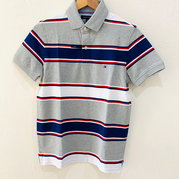 Tommy Hilfiger Slim Fit Coupe Etroite Striped Polo Shirt - Grey, Size S