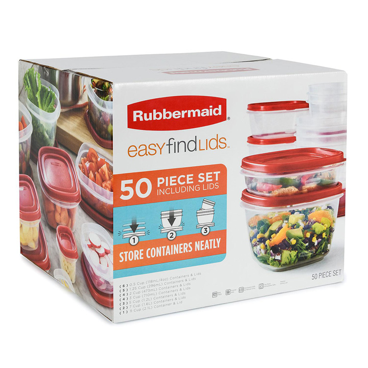 Bộ hộp nhựa Rubbermaid Easy Find Lids Food Storage, 50 món