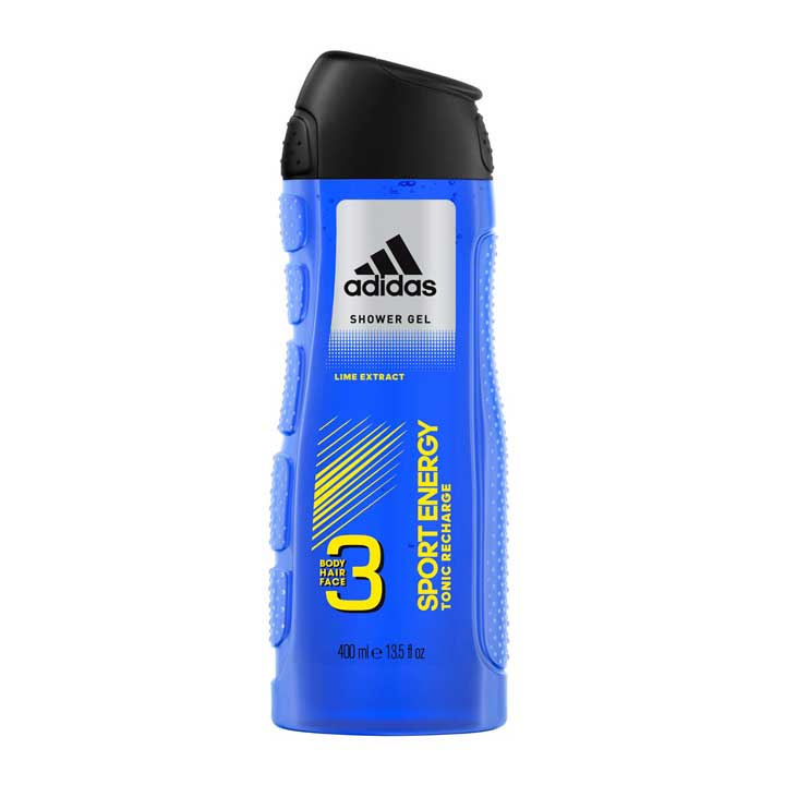 Adidas Sport Energy 3in1 Body, Hair & Face Shower Gel For Him, 400ml