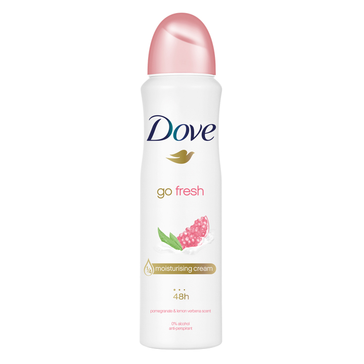 Xịt khử mùi Dove Go Fresh Pomegranate & Lemon Verbena Moisturising Cream 48h, 150ml