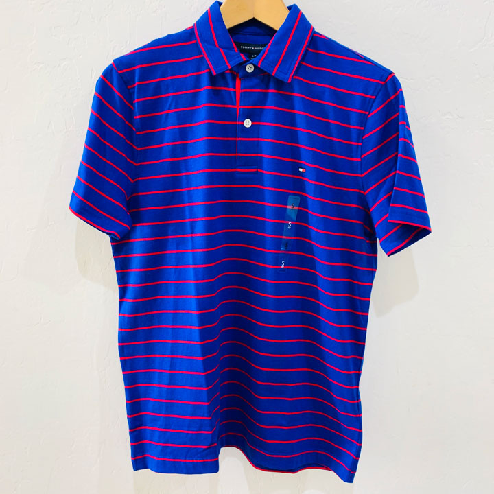 Tommy Hilfiger Classic Fit Red Striped Polo Shirt - Blue, Size S