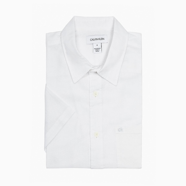 Calvin Klein Slim Fit Chambray Short Sleeve Shirt - White, Size XL
