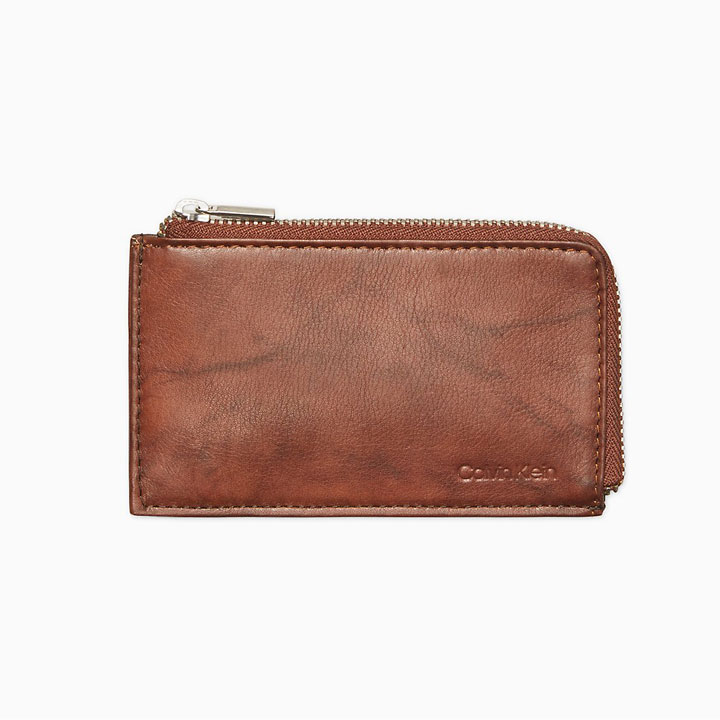 Ví Calvin Klein Marble Leather L- Zip Card Case RFID, Brown