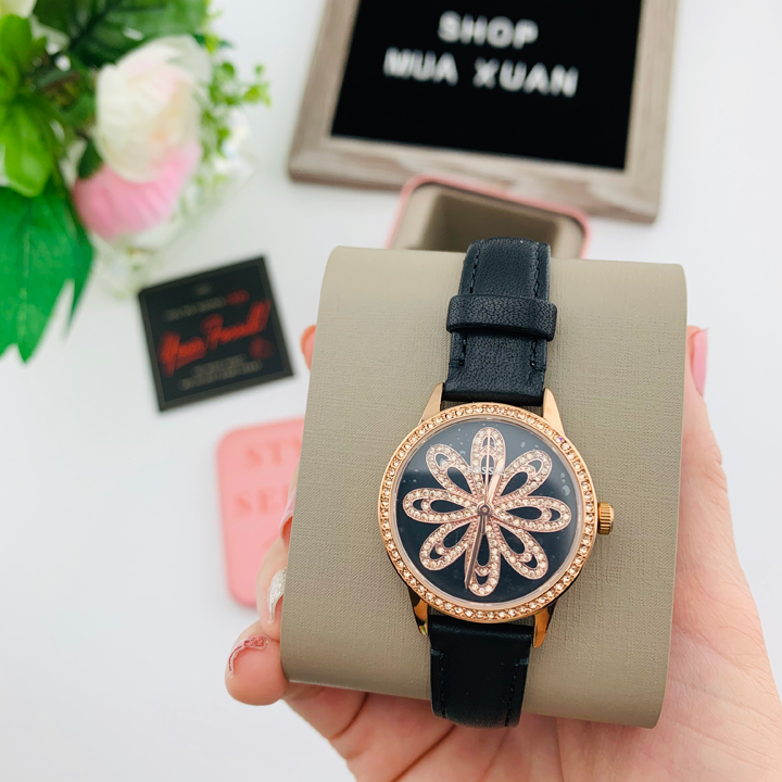 Đồng hồ Fossil Three Hand Rose Gold Glitz Flower Face Black Band