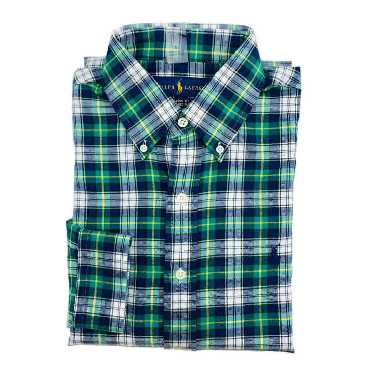 Polo Ralph Lauren Classic Fit Madras Shirt - Green/ Navy Multi, Size M