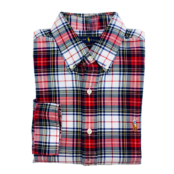 Polo Ralph Lauren Classic Fit Plaid Oxford Shirt - Red/ White Multi, Size M