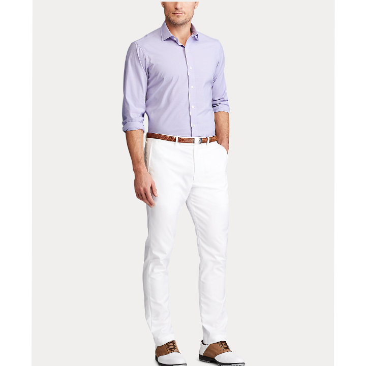 Polo Ralph Lauren Slim Fit Easy Care Stretch Shirt - Sky Lavender/ White, Size 16 (32/33)