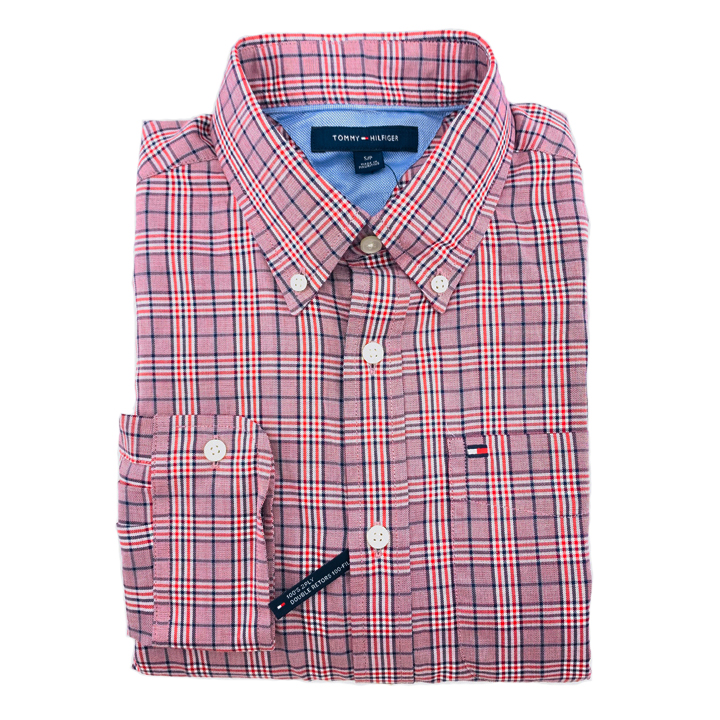Tommy Hilfiger Cotton Check Long Sleeve Shirt - Red Multi, Size S