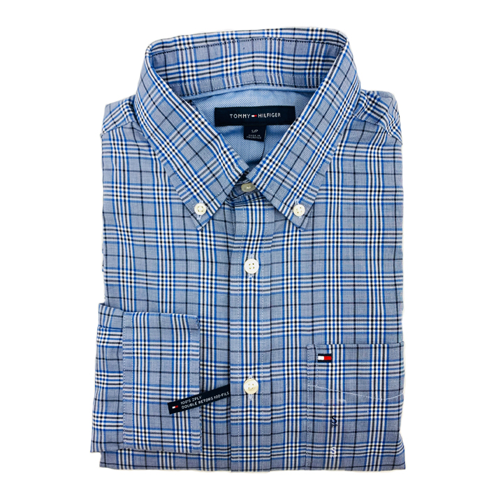 Tommy Hilfiger Cotton Check Long Sleeve Shirt - Blue Multi, Size S