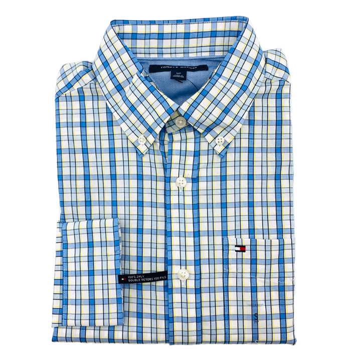 Tommy Hilfiger Gingham Long Sleeve Shirt - Blue/ White Multi, Size S