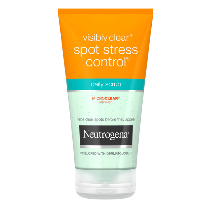 Rửa mặt Neutrogena Visibly Clear Spot Stress Control Daily Scrub, 150ml