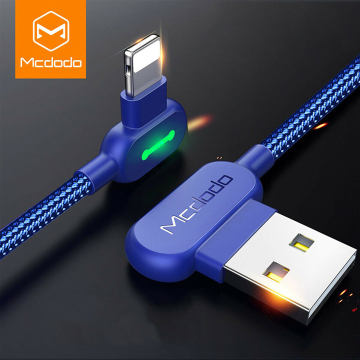 Dây sạc MCDOCO 90 Degree 1.8m - Lightning, Blue