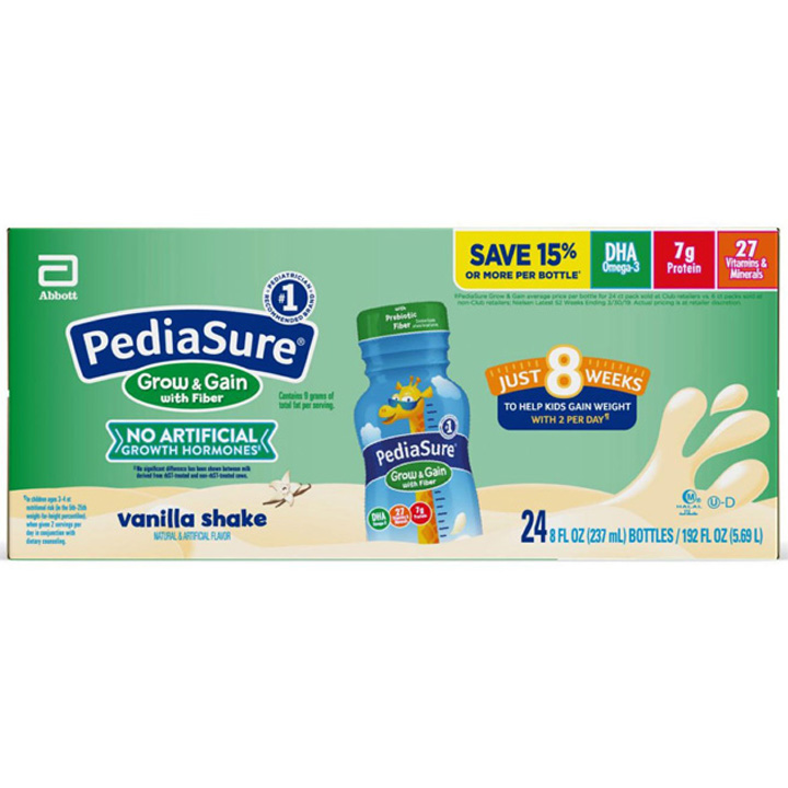 PediaSure Grow & Gain Nutritional Shake with Fiber for Kids - Vanilla, 24 x 237ml