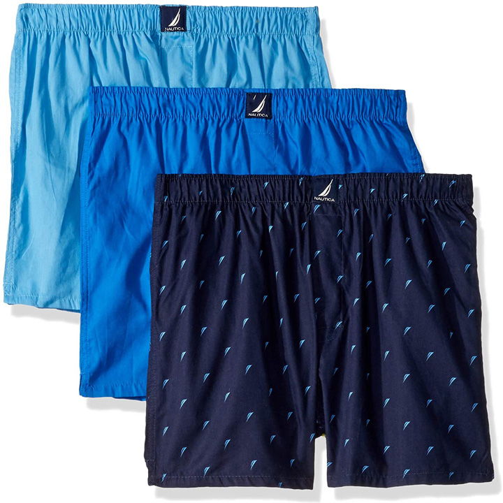 Set 3 Nautica Classic Fit Cotton Woven Boxers - Aero Blue/ Sea Cobalt/ Sails-peacoat, Size M