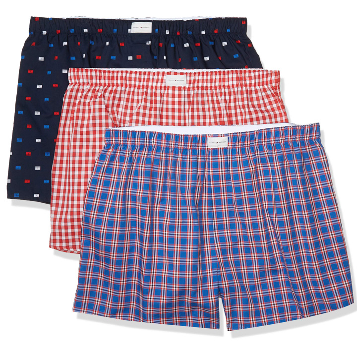 Set 3 Tommy Hilfiger Cotton Woven Boxers - Navy Flag Print/ Tomato Plaid/ Turkish Sea Plaid, Size M