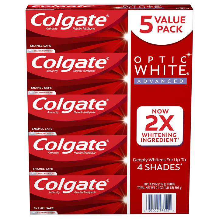 Set Kem đánh răng Colgate Optic White Advanced Teeth Whitening - Sparkling White, 5 x 119g