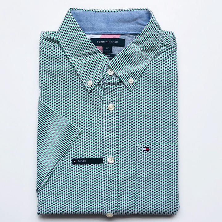 Tommy Hilfiger Slim Fit Micro Print Short Sleeve Shirt - Green/ Purple, Size M