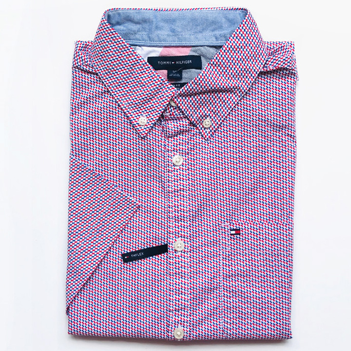 Tommy Hilfiger Slim Fit Micro Print Short Sleeve Shirt - Red/ Purple, Size S